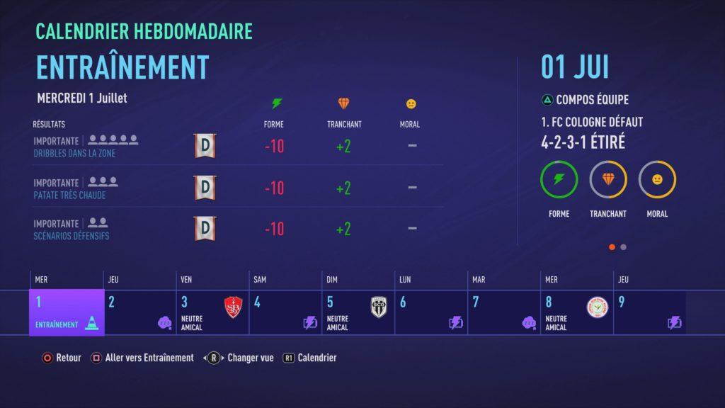 FIFA 21 Entr. Carrière manager (dans les menus)