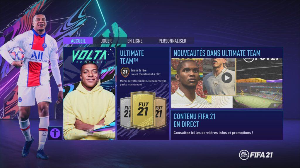 FIFA 21 (dans les menus)